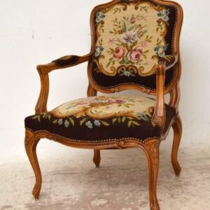 Pair of Antique French Walnut Needlepoint Salon Armchairs