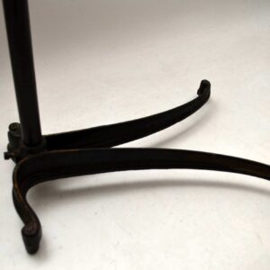 Antique Victorian Wrought Iron & Oak Reading Table