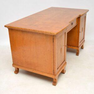 Large Antique Swedish Biedermeier Satin Birch Desk