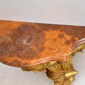 Pair of Antique French Gilt Wood & Marble Wall Mounting Side Tables