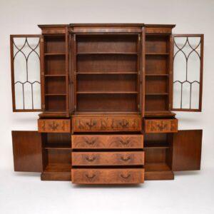 Antique Georgian Style Breakfront Mahogany Secretaire Bookcase