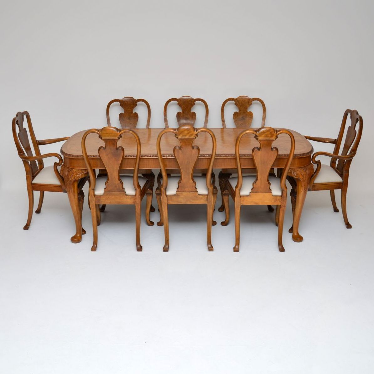 Antique Queen Anne Style Burr Walnut Dining Table & Chairs