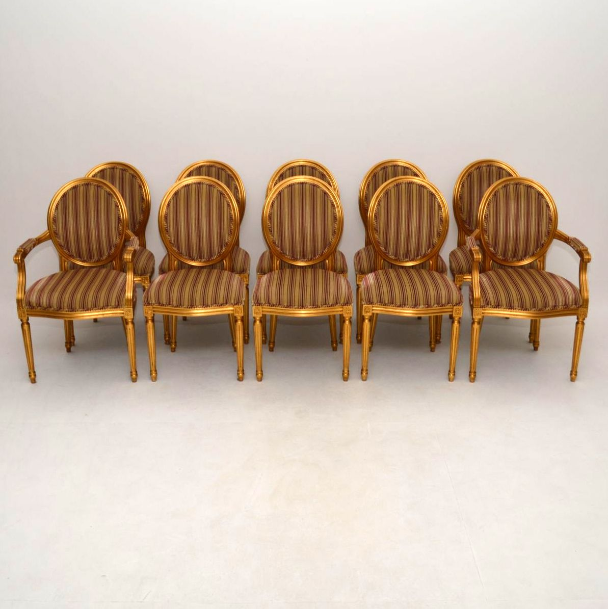 Set of Ten Antique French Style Gilt Wood Dining Chairs