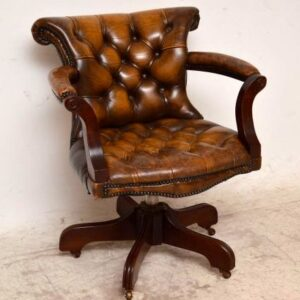 Antique Deep Buttoned Leather & Mahogany Swivel Desk Armchair
