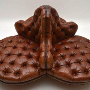 Antique Victorian Leather Conversation Sofa