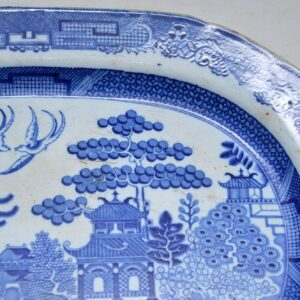 Antique 19th Century Blue Willow China Platter