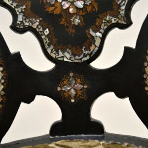 Antique Victorian Papier Mache Chair Inlaid with Mother of Pearl