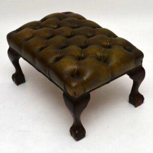Antique Leather & Mahogany Stool