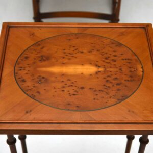 Antique Regency Style Yew Wood Nest of Four Tables