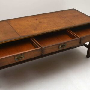Large Antique Campaign Style Mahogany Coffee Table