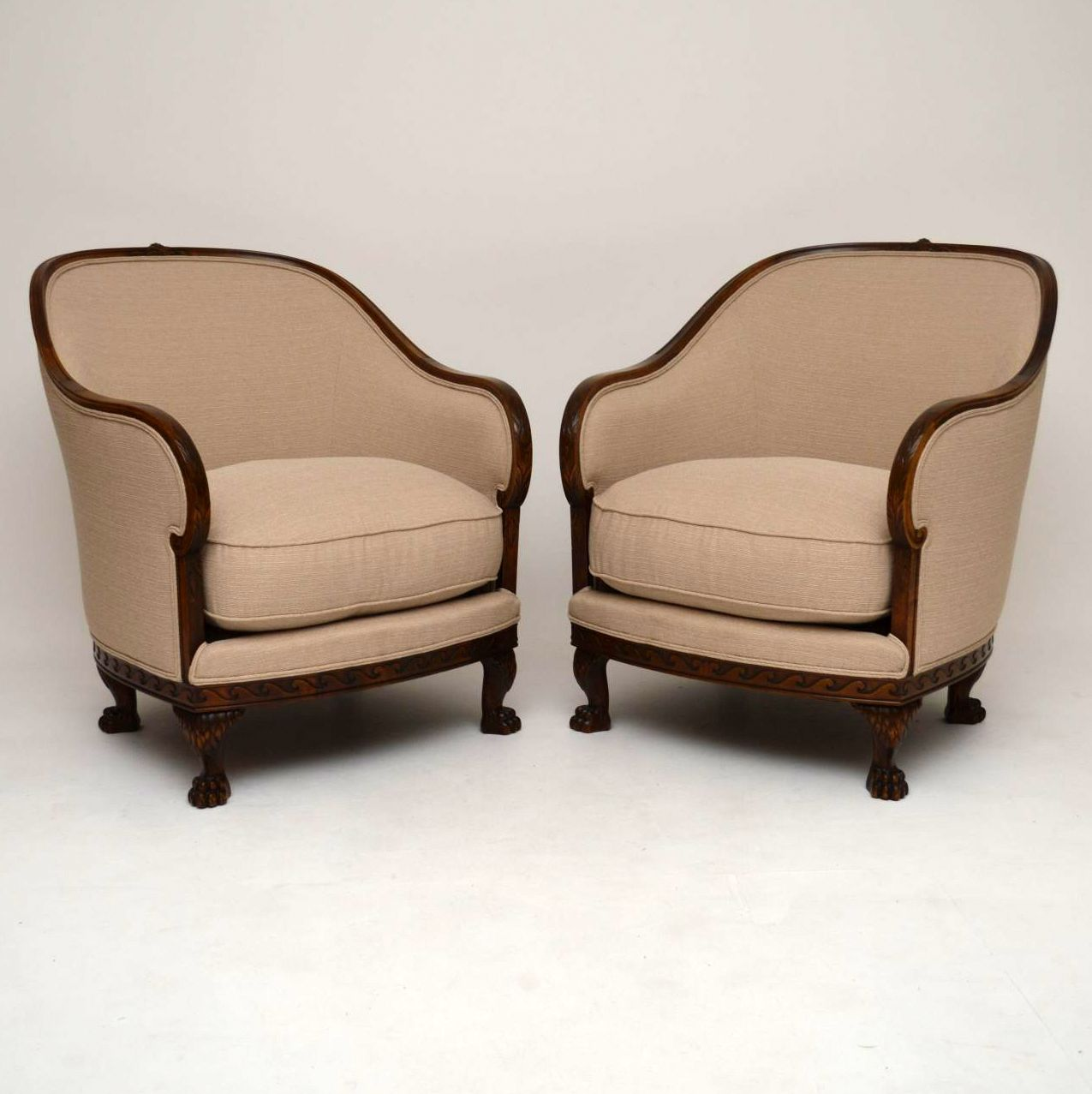 Large Pair of Antique Swedish Satin Birch Armchairs
