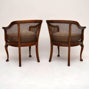 Pair of Antique Mahogany Caned Bergere Armchairs