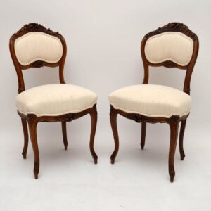 Pair of Antique French Carved Walnut Side Chairs