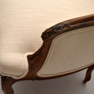 Pair of Antique French Carved Walnut Armchairs