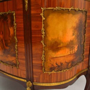 Antique French Painted Marble Top Cabinet
