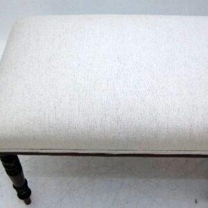 Long Antique Upholstered Mahogany Stool
