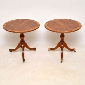 Pair of Antique Regency Style Yew Wood Side Tables