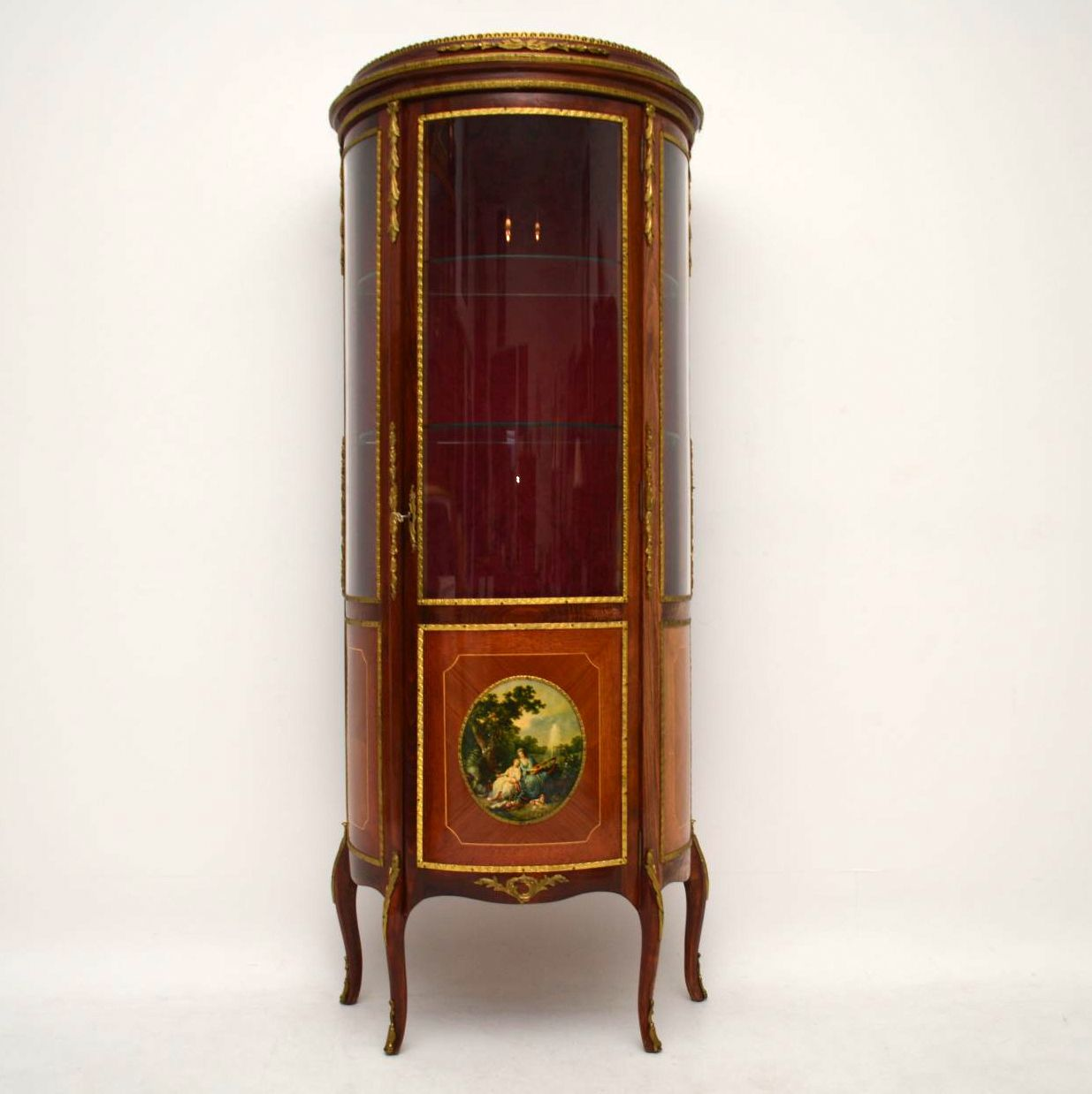 Antique French Bow Fronted Display Cabinet