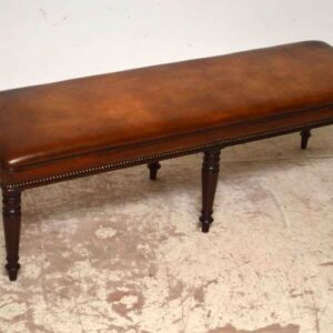 Large Antique Victorian Leather Seat, Bench or Stool