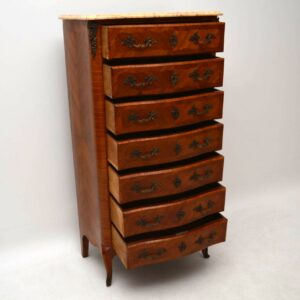 Tall Antique French Marble Top Chest of Drawers