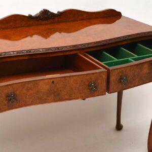 Antique Burr Walnut Console Side Table Server