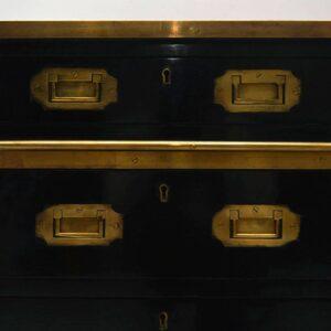 Antique Leather Top Ebonised Campaign Desk
