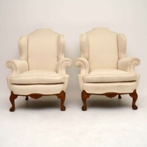 Pair of Antique Queen Anne Style Wing Back Armchairs