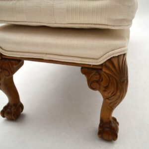 Antique Carved Walnut Upholstered Foot Stool