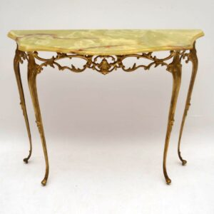Antique French Gilt Metal & Onyx Console Table