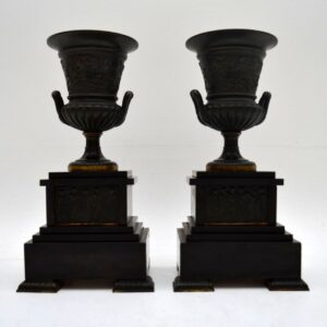 Pair of Antique Neoclassical 19th Century Bronze Urns