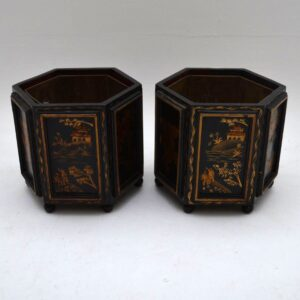 Small Pair of Antique Chinoiserie Plant Pots