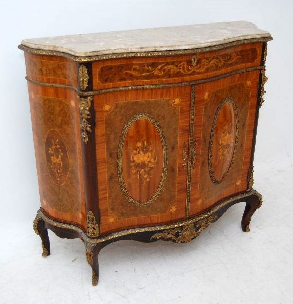 Antique French Style Inlaid Marble Top Cabinet