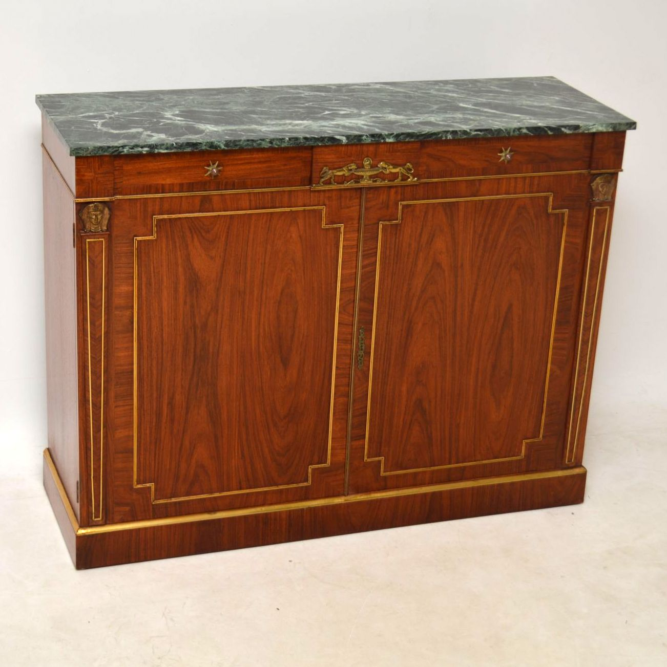 Antique Rosewood Marble Top Sideboard Cabinet