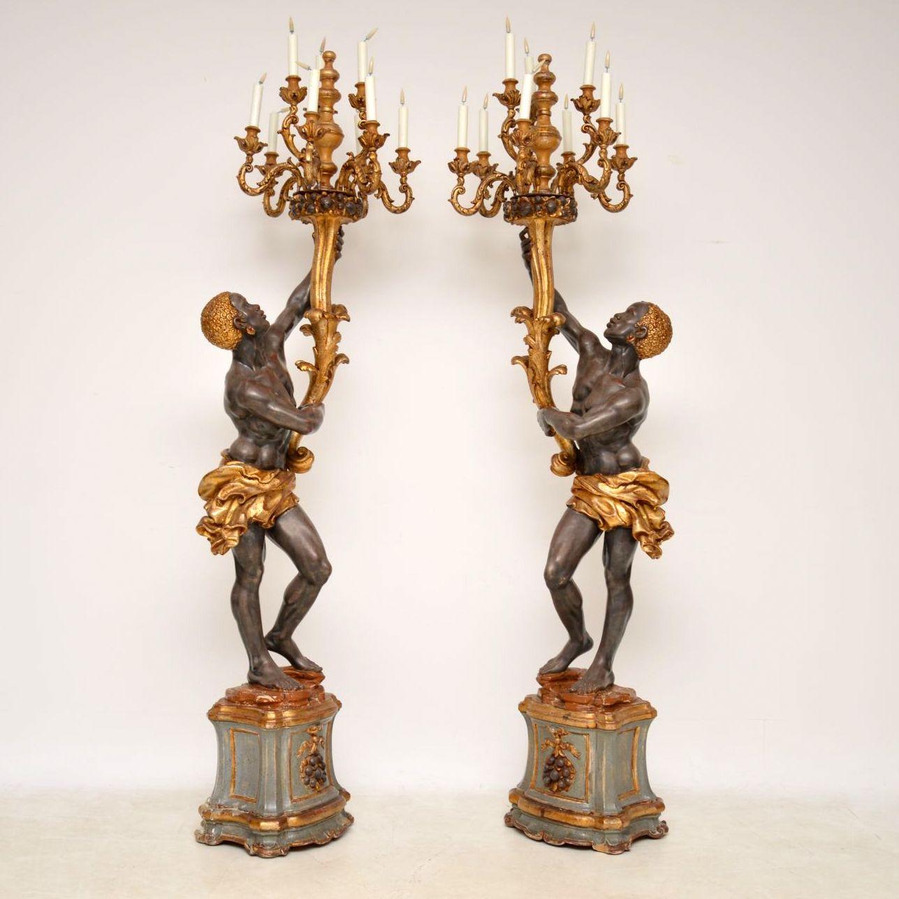 Pair of Antique Venetian Blackamoor Candelabra Sculptures