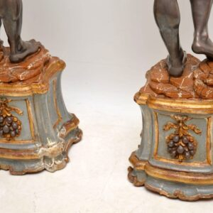 Pair of Antique Venetian Blackamoor Candelabra Sculptures