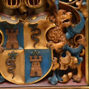 Antique French Carved Wood Coat of Arms