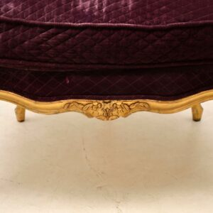 Antique French Carved Gilt Wood Armchair & Stool Set