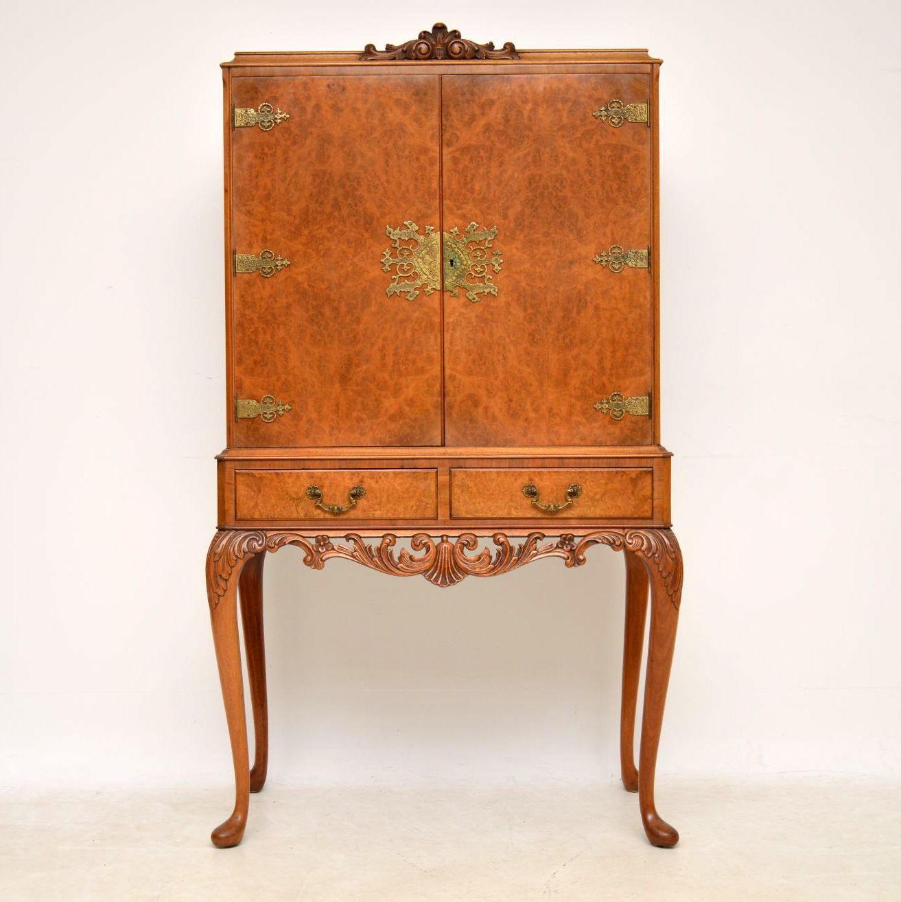 Antique Queen Anne Style Burr Walnut Cocktail Cabinet