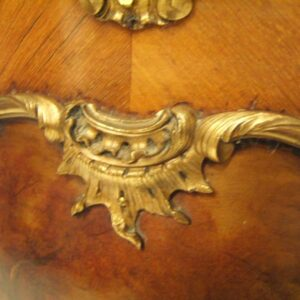 Antique French Bombe Rosewood Ormulu & Painted Vitrine