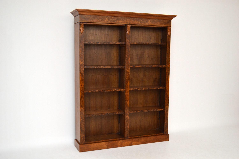 Bespoke Antique Burr Walnut Open Bookcase