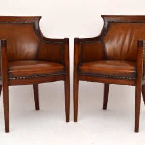 Pair of Antique Leather & Mahogany Tub Armchairs