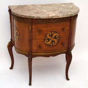 Antique French Kingwood Marble Top Chest on Legs