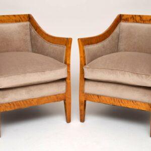 Pair of Antique Swedish Tiger Birch Armchairs