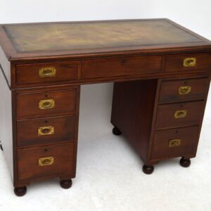 Antique Victorian Mahogany Campaign Pedestal Desk
