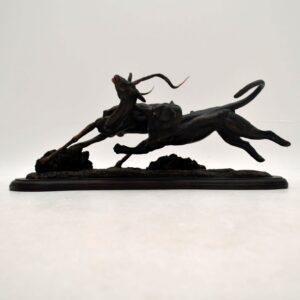 Tim Nicklin 1987 Polybronze Scultpture of Lioness Hunting Antelope