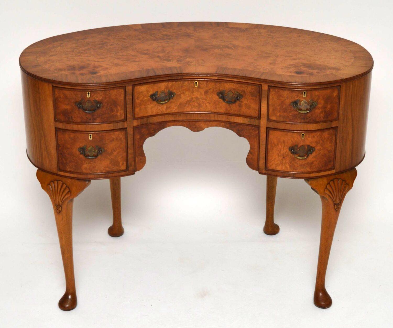 Antique Burr Walnut Kidney Shaped Desk / Dressing Table