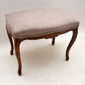 Antique French Walnut Upholstered Stool
