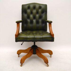 Antique Georgian Style Leather Swivel Desk Chair