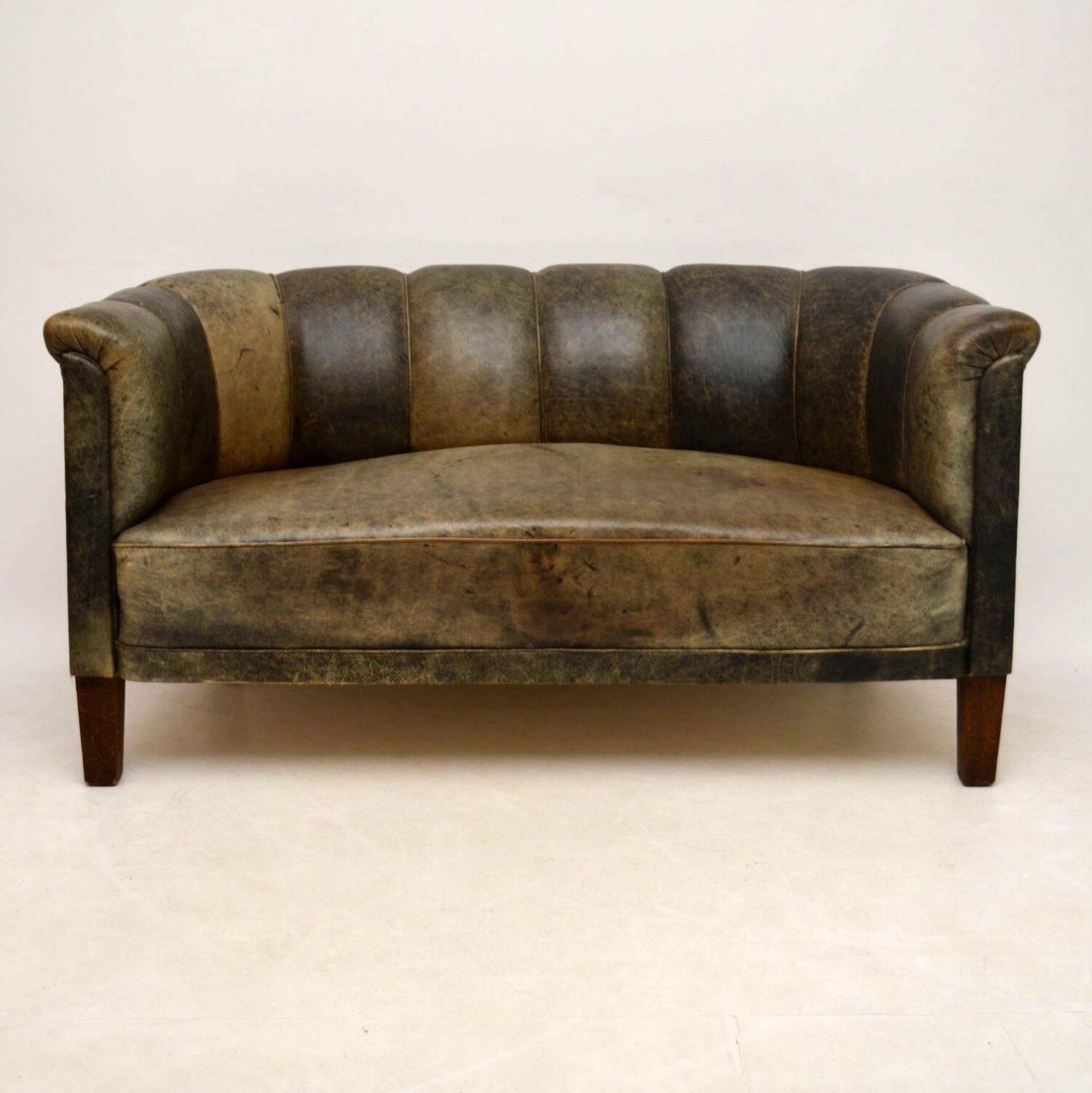 Antique Swedish Leather Fluted Back Sofa