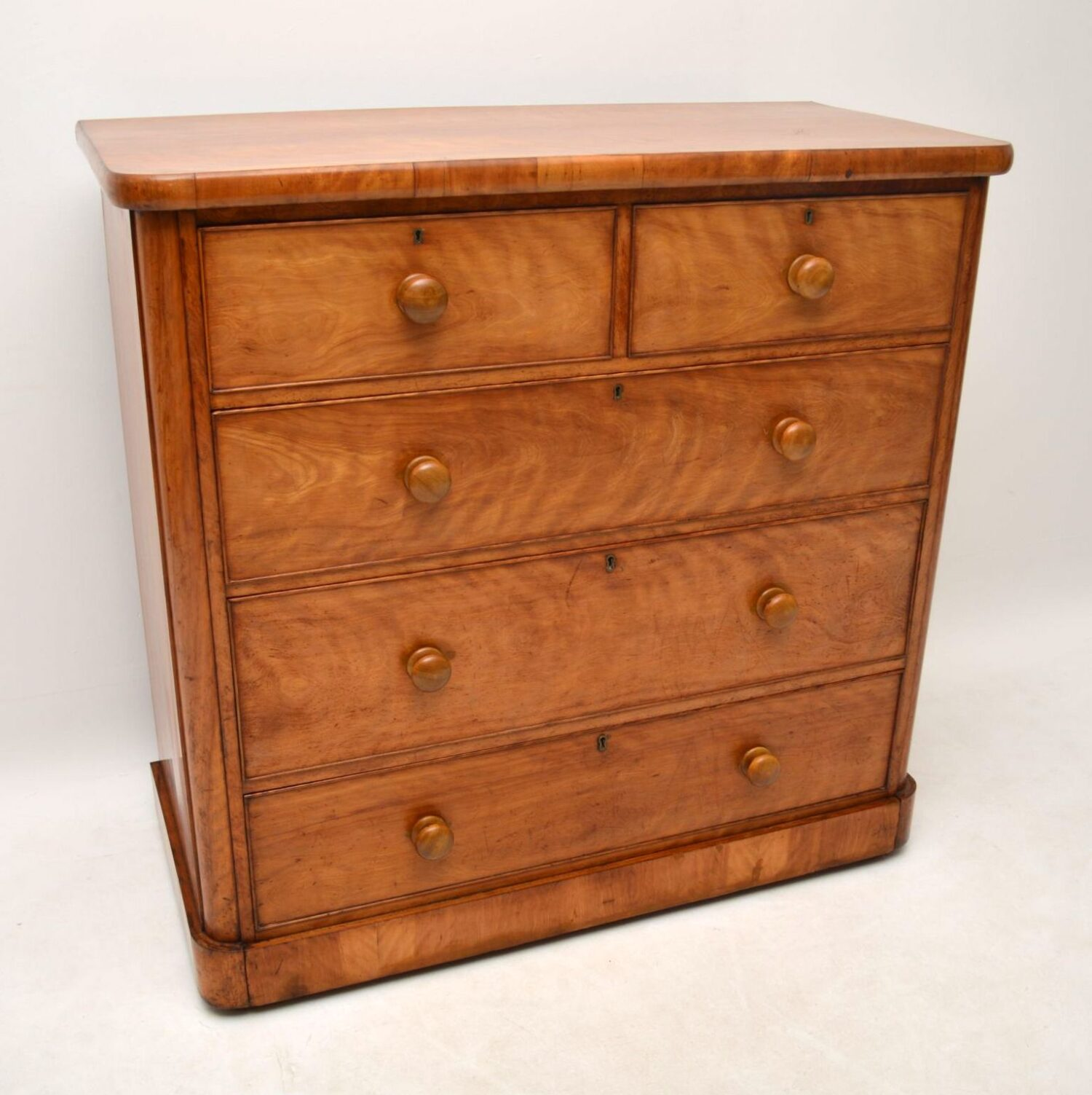 Large Antique Victorian Satin Birch Chest of Drawers